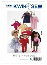 """Kwik Sew SEWING PATTERN K2830 Clothes For 18"""" (45cm) Dolls"""