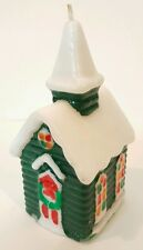 """Vintage Christmas Church Candle Figurine 5"""" Green w/ snow & stained glass detail"""