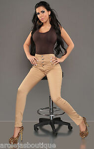 high waisted sexy comfi nude tan cotton trousers