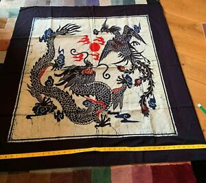 Genuine Handmade Chinese Dyed Batik Wall Hanging - Mythical Dragon & Phoenix