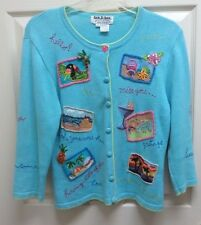 Jack B. Quick PS Vacation Postcards Embroidered/Embellished Cardigan Sweater