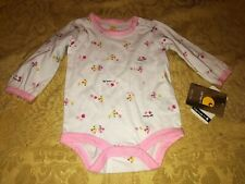 Carhartt Girls One Piece Long Sleeve White Pink Chickens Infant Baby 6 month New