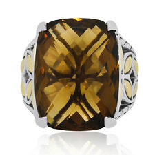 John Hardy Batu Kawung Two Tone Smoky Quartz Ring