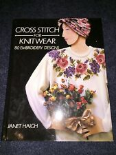 Book Cross Stitch for KNITWEAR Janet Haigh hc 80 Embroidery Designs knitting