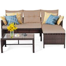 3PCS Wicker Rattan Sofa Set Outdoor Backyard Sectional Conversation Set Garden