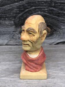 Wood Spirit Wizard  Ooak  Bald Old Man Bust Red Shirt  Scott Longpre Originals