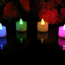 4 Colour Changing LED Battery Candles - Flameless Mood Tea Lights by PK Green