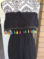 Ladies Black Cotton Strapless Frill Tassel Dress Brand New Size Small 8-10