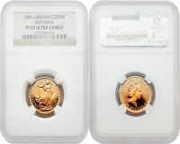 Great Britain 1989 Britannia 25 Pounds 1/4 oz Gold NGC PF69 ULTRA CAMEO