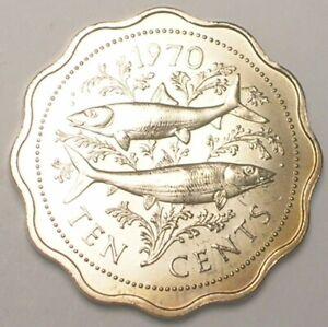 1970 Bahamas Bahamian 10 Cents Bone Fish Coin Matte