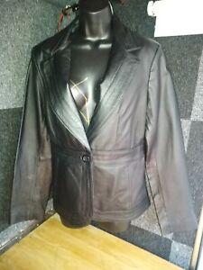 Beautiful Black Leather suit jacket & Skirt
