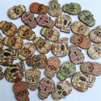 50pcs printed two-eyed wooden buttons mixed with cartoon skulls wooden buttons