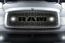 Custom Steel Grille Kit RAM + LED Light Pods for 02-05 Dodge Ram 1500/2500/3500