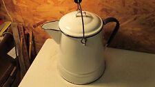 Antique White & Blue Enamelware Coffee Pot Boiler- Bale Handle