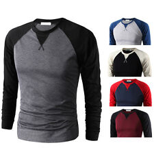 Mens Casual Shirt Slim Crew Neck Raglan Baseball Long Sleeve T-shirt Sports Tops