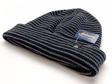Adidas Men's Dock Fold Beanie Knit Hat Black Grey Stripe Ski Snowboard New! NWT