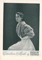1952 Bergdorf Goodman Clothing Store Ad 5th Avenue New York City Mink Vintage