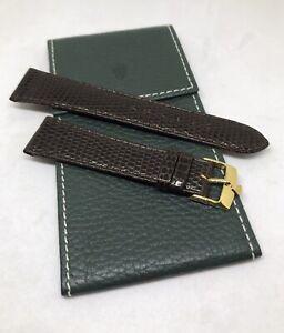 Vintage Rolex 20mm Brown Lizard Strap w/ 16mm Gold Buckle & Rolex Leather Pouch
