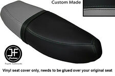 BLACK & GREY VINYL CUSTOM FITS HONDA C90 CUB SQUARE LIGHT MODEL DUAL SEAT COVER