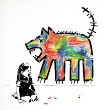 VeeBee - Wolf - Signed hand painted stencil . Graffiti, Street Art, Banksy Style
