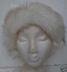 WHITE MIX FLUFFY FAUX FUR HEADBAND HAT SKI EAR WARMER MUFFS NEW ONE SIZE 60CM