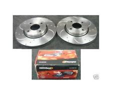 FORD MONDEO GHIA 2.5 V6  ST24 ST200 BRAKE DISC DRILLED GROOVED MINTEX PAD FRONT