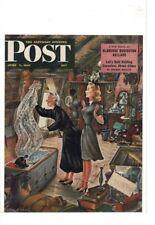 JUNE 7 1947 SATURDAY EVENING POST MAG COVER GRANDMA GIRL FIND VEIL AD PRINT C098