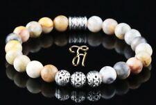 Marble Agate Bracelet Pearl Bracelet Silver Beads Buddha 8mm