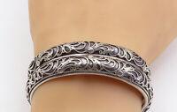 925 Sterling Silver - Vintage Oxidized Shiny Swirl Pattern Cuff Bracelet - B8862
