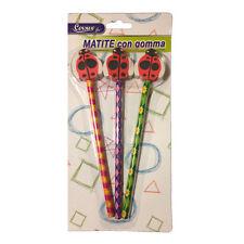 Set 3 matite colorate con gomma a coccinella idea scuola cancelleria da bambina