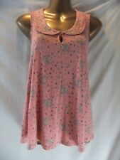 LADIES George 10 PEACH STRETCH/DITSY FLORAL/KEYHOLE+COLLAR/SLEEVELESS SUMMER TOP