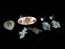 Vintage lot of 4 Pc. MOTHER OF PEARL Earrings, Necklace, Pin & Pendant