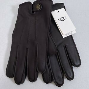 UGG Metisse Tabbed Vent Tech Gloves Brown Leather Men's Size M