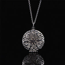 Women Silver Picture Locket Hollow Heart Photo Pendant Chain Necklace OpenabJH
