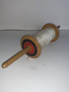 Vintage Kite Spool Wood Wooden Kite Flying with String Spindle Reel Line