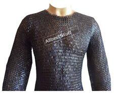 Mild Steel XXL Black Flat Riveted Long Sleeves Hauberk Chain Mail Shirt SCA ABS