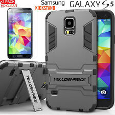 For Samsung Galaxy S5 Dual Layer Extreme Protection KickStand Armor Case + Films