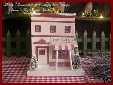 "Xmas Putz House ""Santa's Toy Shoppe"" Glitter & Mica Flocked Bottle Brush Trees"
