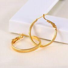 """9K 9ct Yellow """"GOLD FILLED"""" Ladies Medium Hoop Earrings. 28mm Gift,2176"""