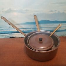 More details for vintage copper saucepans set x 3 tinned retro cooking pans brass handles pans