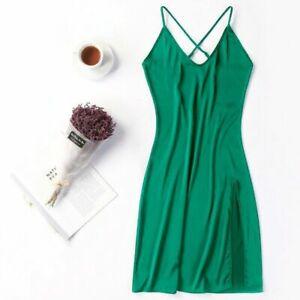 Lady Satin Slips Dress Sleeveless Faux Silk Petticoats Strap V Neck Slit Fashion