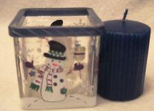 "New Khols Snowman Glass Candle Holder 3"" Square"