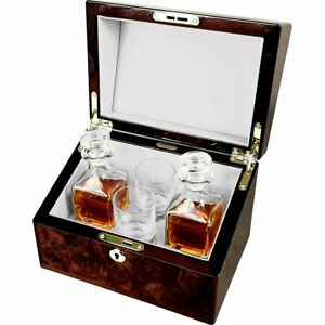 Double Mini Decanter and Crystal Shot Glass Set in a Luxury English Burl Walnut