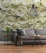 Floral Wall mural wallpaper for bedroom Giant poster style White / Beige roses