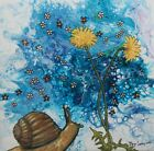 Intuitive abstract painting snail dandelion contemporary by artist Joy Campbell