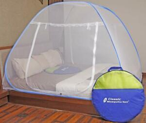 Blue Mosquito Net -Double Bed King Size Bed - Polyester Foldable