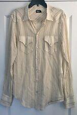 Dolce & Gabbana D&G L Mens Ivory Cotton/Linen Western Button Down Shirt 50 Large