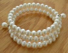 Ross-Simons White Pearl Bracelet Sterling Silver Wrap Bracelet NIB NEW old stock