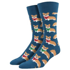 Socksmith Men's Crew Socks Corgi Puppy Dog Blue Novelty Footwear Foot Apparel