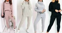 Ladies chunky knitted loungewear polo high neck top  leggings suit set Size 8-14